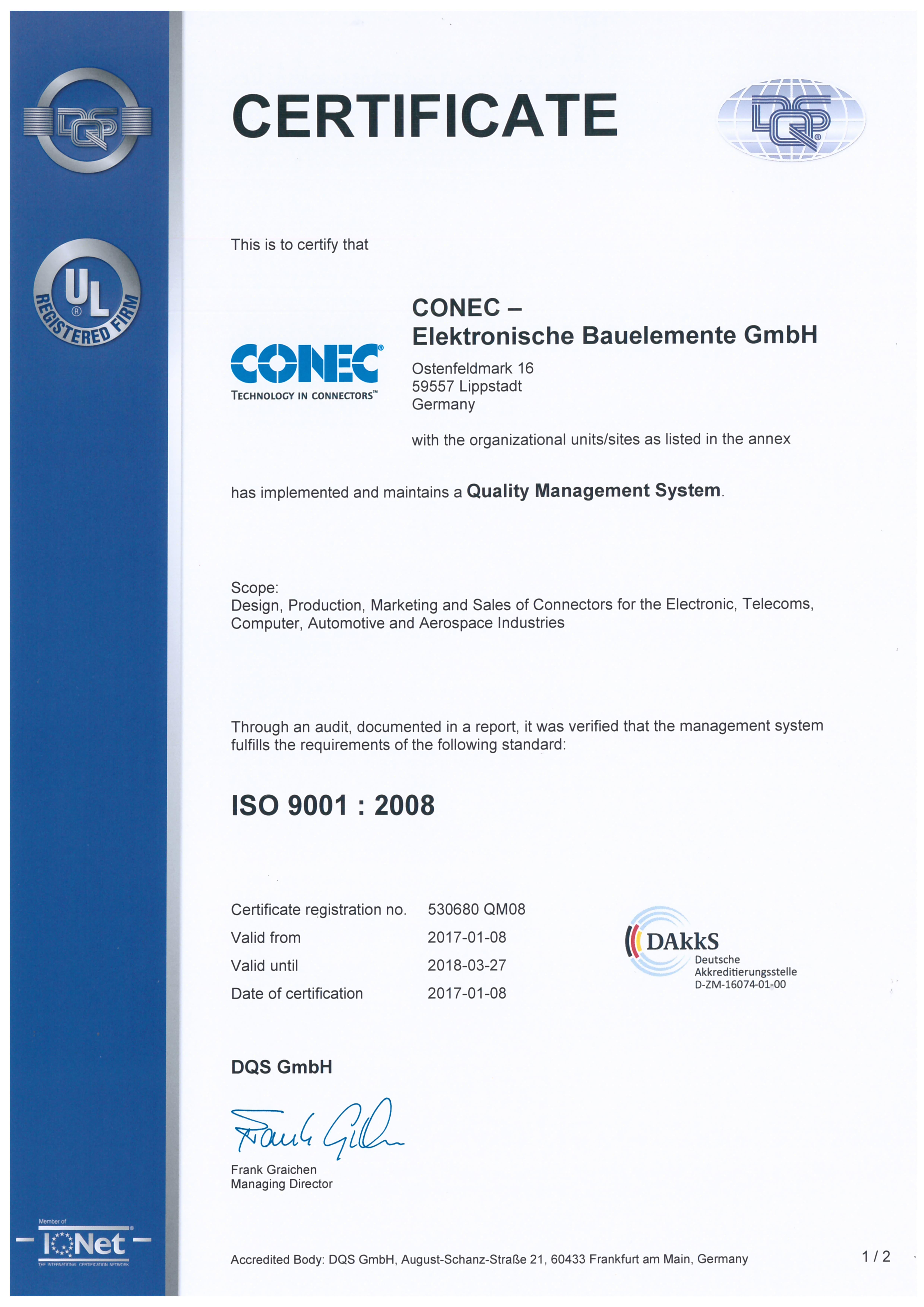 Quality management certificates conec en conec iso9001 2008en xflitez Choice Image