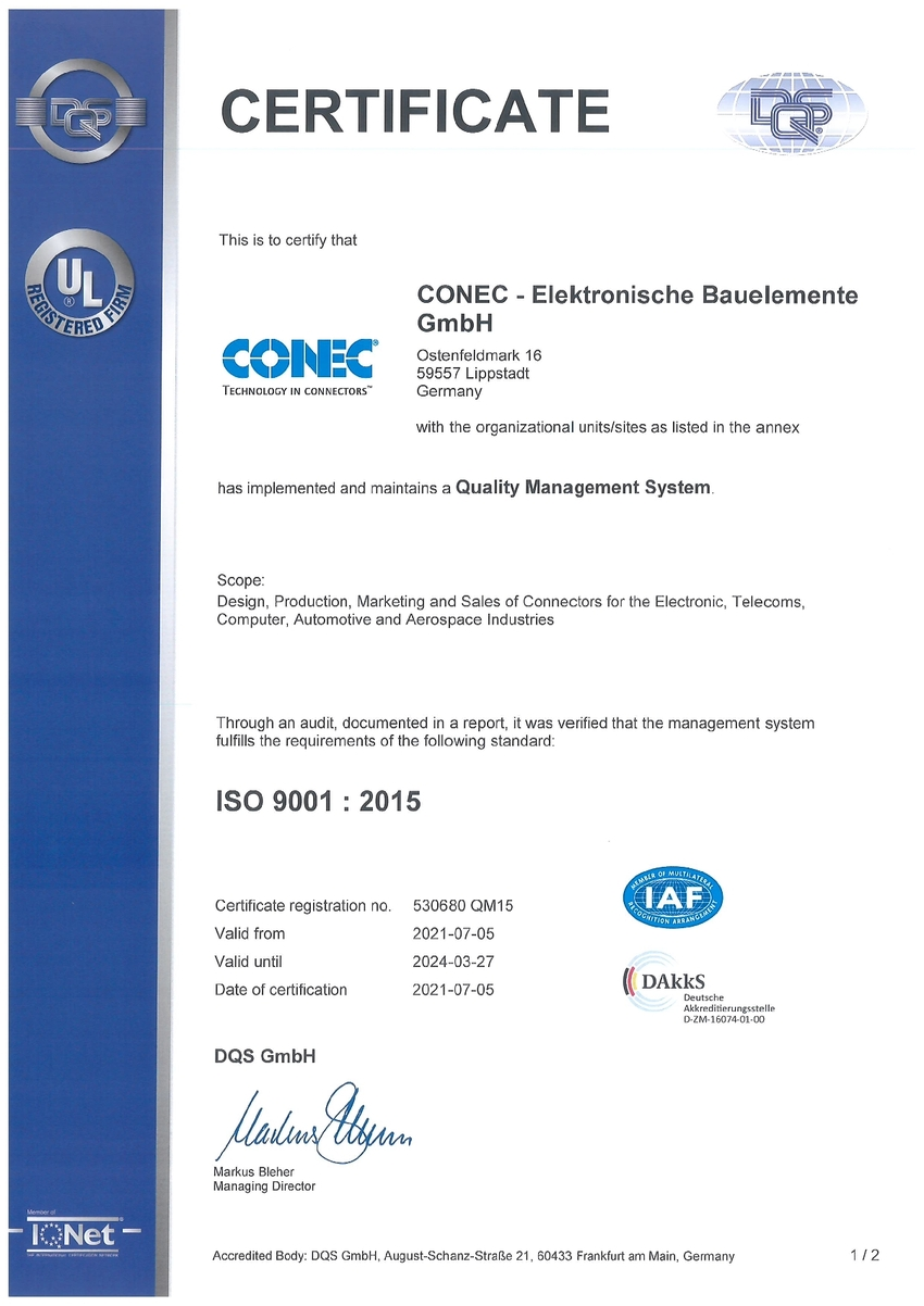 Quality Management Certificates Conec En